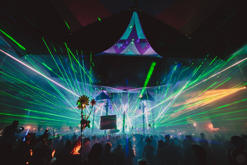 Rainbow Serpent 2017 Market stage lasers